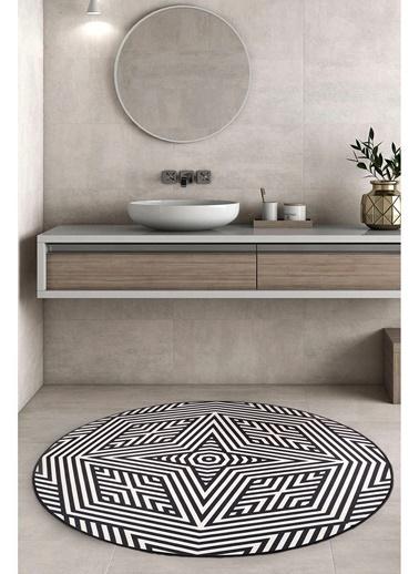 Hamur Liana Yuvarlak Halı 125x125 cm Dekoratif Banyo Paspası Siyah